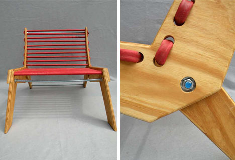 diy wood metal rubber chair